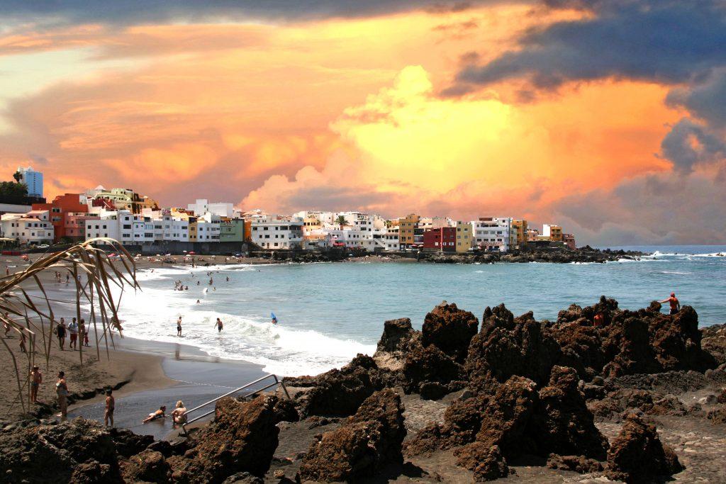 playa puesta de sol